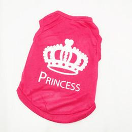 Wholesale Ship Dropping Wholesale Dog Apparel - Pet Dog Vest Clothes XS S M L T-shirt Cat Puppy Princess Crown Shirt Dog Apparel Free&Drop Shipping