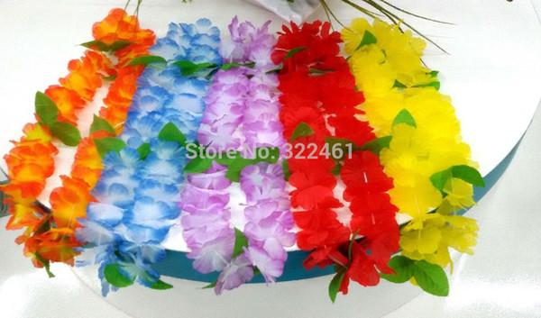 20pcs / lot nouvelle décoration de mariage 2015 fleurs hawaïennes lei guirlandes avec feuille Hawaii Parti robe collier fleurs artificielles