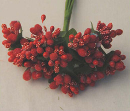 Wholesale Wedding Boxes For Shipping - Free shipping 144pcs Decorative Artificial Pip Berry Picks Fruit Flower Stamens For DIY Wedding Christmas Garland Box Decoration