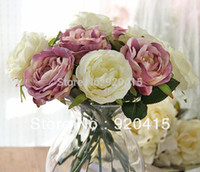 "белые розы оптовых-Artificial flowers 11"" length WHITE/PURPLE /PINK ARTIFICIAL ROSES SILK FLOWERS for bridal / wedding bouquets home decoration"
