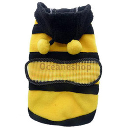 Wholesale Dog Dressed Bumble Bee - Cute Pet Dog Cat Bumble Bee Clothes Dog Dress Up Costume Dog Christmas Gift Warm Dog Apparel Coat Clothes BHU2