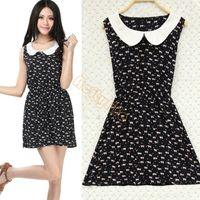 mini vestido coreano de una pieza al por mayor-Las nuevas mujeres coreanas # 039; s Slim Doll Collar sin mangas lindo chaleco floral de una sola pieza Mini vestido 24