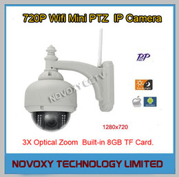 Wholesale Dome Ip Camera Outdoor 3x - Free Shipping H.264 720P IR CUT ICR WIFI Wireless 3x Opitical Zoom IR 20m IP Outdoor Waterproof PTZ Dome Camera Incl. 8G TF Card