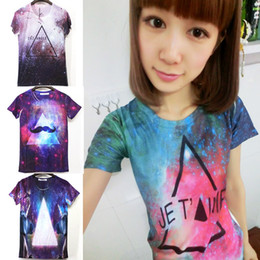 Wholesale Tee Shirt Triangle Galaxy - Fashion Women men retro triangle galaxy top print hip hop short sleeve costume o-neck skull funny sexy 3D t shirt tee