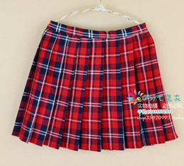 Wholesale Green Print Skirt - British Style Women Plaid Print Pleated Skirt Woman Plus Size Slim Fit Sexy Cosplay A Skirts