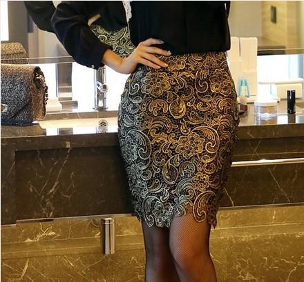 New Fashion 2015 OL Style Knee-length Slim Sexy Lace Pencil Skirt For Women Ladies Spring And Summer High Waist Skirts Hot Sale