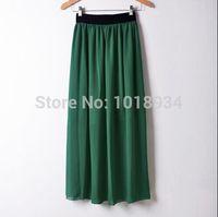 Wholesale Double Layer Chiffon Skirt - Women Double Layer Chiffon Pleated Retro Long Maxi Dress Elastic Waist Skirt