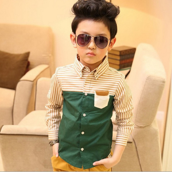 best selling Wholesale-2015 NEW kids spring striped shirt, Children patckwork long sleeve green shirts, Fashion boy tops kids clothes, HC176