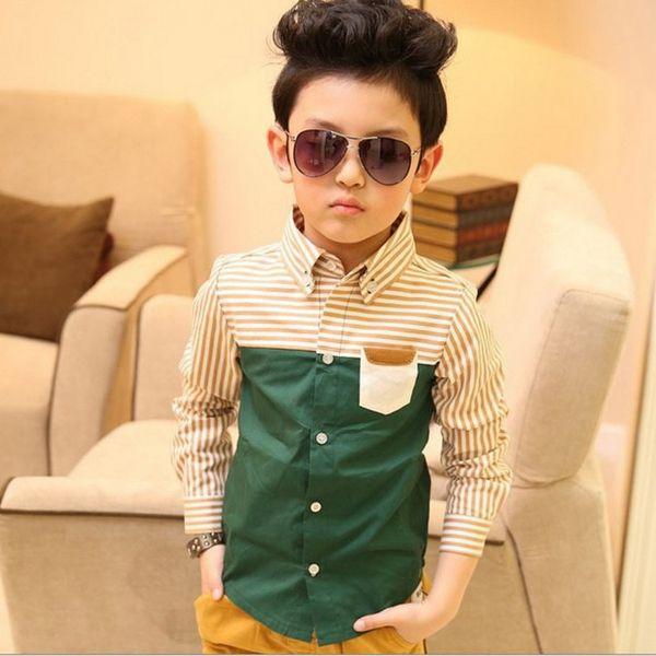 top popular Wholesale-2015 NEW kids spring striped shirt, Children patckwork long sleeve green shirts, Fashion boy tops kids clothes, HC176 2021