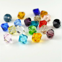 Wholesale Bicone Mixed - 2015 New Free shipping wholesale Grade AAA 3mm 4mm glass crystal Bicone Beads 1000pcs lot Mixed colors DIY Jewelry Making Beads