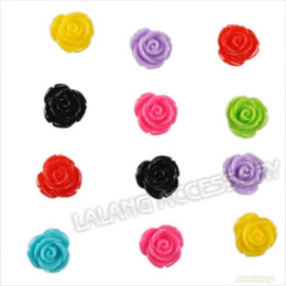 Wholesale Assorted Flat Back Resins - Wholesale-240pcs lot Wholesale Acrylic Resin Rose Flower Charms Beads Assorted Handmade Flat Back Bead Embellishments 10x10x8mm 250099
