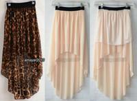Wholesale Wholesale Red High Low Skirts - 2015New fashion summer Sexy Asym Hem Chiffon Skirt High Low Asymmetrical Long Maxi Dovetail skirt Elastic Waist