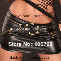 Wholesale Rock Roll Skirts - Spring New 2015 Woman Fashion Punk Rock And Roll Gothic Club Sexy Faux Leather Mini Skirt Celebrity Street Style