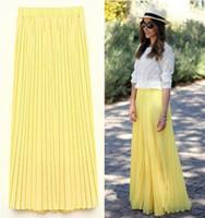 Wholesale womens long skirts chiffon - Women Long Chiffon Skirts 97cm Candy Color Pleated Maxi Womens Skirts Size S-L W3374