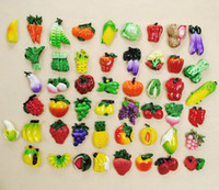 Wholesale Resin 3d Fridge Magnets - Wholesale-Free Shipping 3D Refrigerator Magnets Large Resin Artificial Vegetables Fridge Magnets Fruit Fridge Stickers 10pcs lot