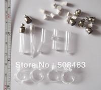 Wholesale Mini Glass Vial Pendant Necklaces - Free ship! 100pcs lot mixed shape glass Vial Pendant (metal cap with rubber plug mini glass charm  rice  bottle miniature vials)