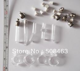Wholesale Ship Bottle Charm - Free ship! 100pcs lot mixed shape glass Vial Pendant (metal cap with rubber plug mini glass charm  rice  bottle miniature vials)