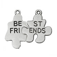 """Wholesale Best Friends Puzzle Charms - Dorabeads Charm Pendants Puzzle Antique Silver """"Best Friends""""Carved 22mm x 12mm 19mm x 17mm,50Sets"""