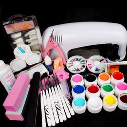 Wholesale Gelled Lamp Kit - Wholesale-BTT-82 Full Pro 9W White Cure Lamp Dryer & 12 Color UV Gel Nail Art Tips Tool Kits Sets