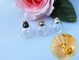 Wholesale Mini Glass Vial Pendant Necklaces - 20sets lot 16 18 20 25MM Glass Ball Bottle With Metal Caps Lovely mini glass bottles Fairy Dust Bottles wishing vials