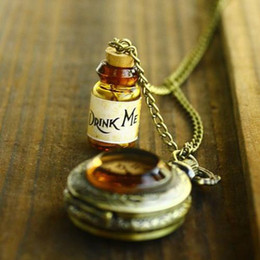 Wholesale Wonderland Necklace - Alice In Wonderland DRINK ME Pocket WATCH LONG Necklace NEW HOT SALE D1