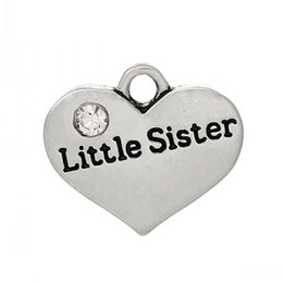 "Wholesale Little Sister Charm - Dorabeads Charm Pendants Heart Family Antique Silver ""Little Sister""Carved Clear Rhinestone 17mm x 15mm(5 8"" x"