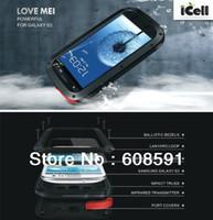 Wholesale S3 Case Waterproof Shockproof - Original LOVE MEI Powerful Shockproof Dirtproof Waterproof Metal Case For Samsung Galaxy S3 SIII i9300 ,free shipping MOQ:1PCS
