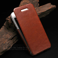 Wholesale Iphone 4s Inside - Ultrathin Aluminum leather case for Iphone 5g 5s 4s with Aluminum cover inside luxury crazy horse leather flip case for iphone5s