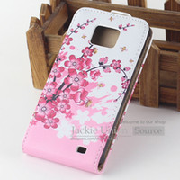 Wholesale S2 Case Ups - Cute Flower Pattern Design Leather Flip Up and Down Hard Cover Case For Samsung Galaxy S2 i9100 Stylish Plum Flower & Butterfly