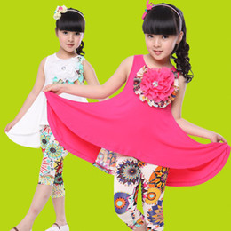 $enCountryForm.capitalKeyWord NZ - Fashion girls clothing sets 2015 Summer girls dress + leggings casual suit Modal Fabric pastoral flower baby kids clothes