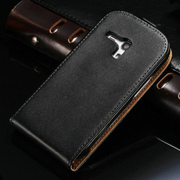 Wholesale S3 Case Real Leather - Real Leather Flip Case Cover for Samsung Galaxy S3 Mini I8190 Leather Cover Black White