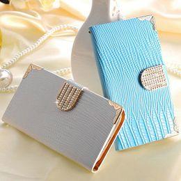 Wholesale Rhinestone Phone Cover Galaxy S3 - Wallet Shining Crystal Bling PU Leather Case For Samsung Galaxy S3 i9300 SIII Luxury Phone Bag Rhinestone Flip Cover BOB