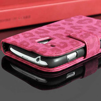 Wholesale Leopard S3 - High Quality Phone Cover Bags Deluxe Leather Case For Samsung galaxy S3 MINI i8190 Fashion Wallet Stand Luxury Leopard Skin flip