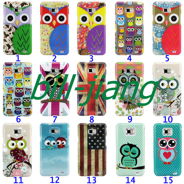 Cartoon Cute Owl Bird design Hard Back Cover Case for  Galaxy S2 SII i9100 1pcs/lot by china post