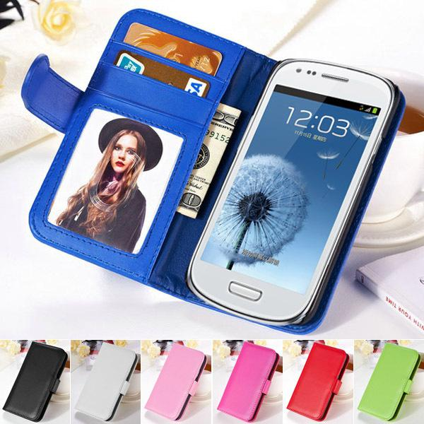 i8190 Photo Frame Flip Cover PU Leather Phone Bag Case For  Galaxy S3 Mini i8190 Wallet Style Stand Design With Card Slot
