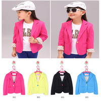 Wholesale Girls Kids Blazer - Kids Girls Slim Fit Casual Jackets Suits Blazers Candy Color Cotton Costume 2-7Y Free shipping & Drop shipping XL168