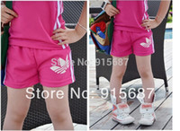 Wholesale Bigger Girl Shorts - lowest price free shipping European style Wholesale children's summer set sport suits for bigger girls