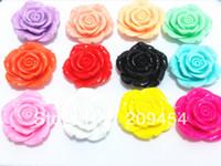 буртик с отверстием оптовых-Factory PrLarge Size 42MM 50pcs/lot Mix Colors Resin Flower , With Back Hole! Free shipment
