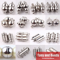Wholesale Magnetic Round Clasp - (10Sets=1Lot ! ) Free Shipping Dull Silver Silver Plated Tube Barrel Round Strong Magnetic Buckle Clasps Jewelry Finding CP1