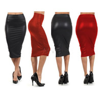 Wholesale Plus Size Leather Pencil Skirt - Promotion black Red Pencil Skirt Women Plus Size High Waisted Skirt Leather Skirt Drop Free shipping Leather Pencil Skirt 10