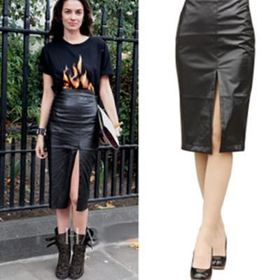 2017 Pu Leather Skirt 2015 Lady High Waist Faux Leather Pencil ...