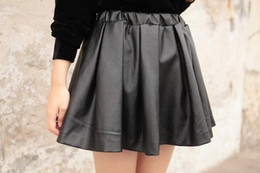 Discount High Waisted Faux Leather Skater Skirt   2017 High ...