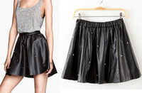 Wholesale Girls Leather Mini Skirts - Female Black PU Leather Rivet Skater Skirt casual Mini Motorcycle Summer Autumn girl Sexy Short Skirts saias female clothed