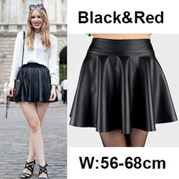 Discount Red Faux Leather Skater Skirt | 2017 Red Faux Leather ...