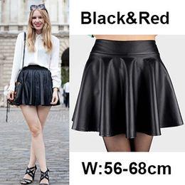 Wholesale Pleated Skater Mini Skirt - New Fashion Women Leather Skirt Autumn Winter High Waist Pleated PU Leather Mini Skirt Black Red Casual Skater Skirt