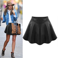 Wholesale Pleated Brown Skirts - XS~XXL 2015 Autumn Fashion Skirt PU Women Leather Skirt High Waist Pleated Skirt Plus Size Sexy Brown And Black Skirt
