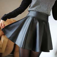 Wholesale Basic Short Skirt Bust - 2015 PU small leather skirt bust skirt autumn and winter pleated skirt a-line skirt black basic short skirt female plus size