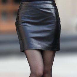 Mini falda de cuero genuino paquete de piel de oveja 2015 falda del busto falda de la cadera delgada paso falda corta saia com ziper freeshipping desde fabricantes