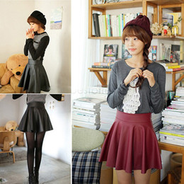 Wholesale Flared Leather Skirt - Women Fashion Synthetic Leather Mini Skirt High Waisted Flared Pleated Skater Short 22