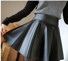Wholesale Fashion Trends Skirts - 2015 new fashion trend comfortable pure color joker tall waist imitation leather skirts sun pleated leather skirt
